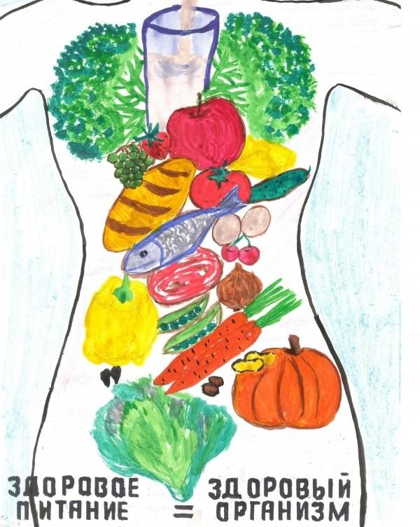 рисунки про здоровое питание для детей